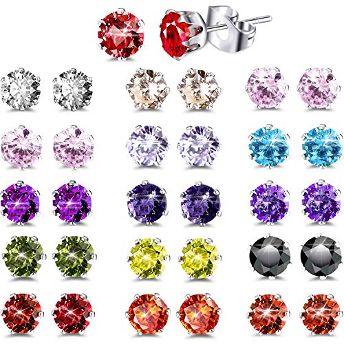 15 Pairs CZ Stud Earings Set Womens Jewelry Stainless Steel Earrings for Women (5 mm)