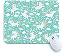 ECOMAOMI 可愛いマウスパッド 幸せなユニコーンとかわいい子供っぽいシームレスパターンは花を蝶し、星と雲を残します 滑り止めゴムバッキングマウスパッドノートブックコンピュータマウスマット
