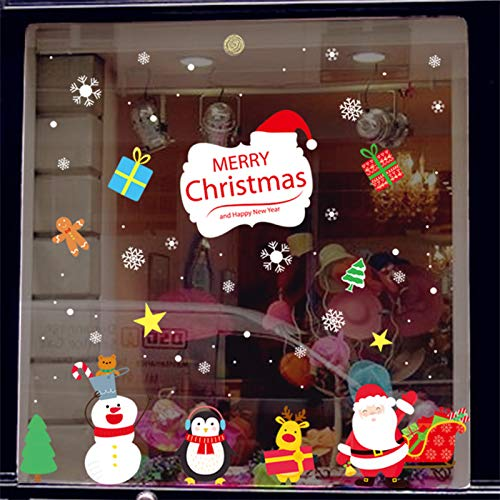 Y-Rachael Ventana De La Navidad Etiqueta De Vidrio 2 Pcs Tienda De Decoración De La Ventana De La Puerta De Vidrio Frente Interno De Santa Adhesivo Removible