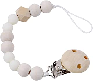 eroute66 Lovely Wooden Beads Chain Infant Baby Soother Toy Teether Pacifier Clip Holder - White