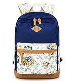 5 ALL Sac à Dos College Fille Sac de Voyage Cartable Scolaire Tendance Sac de Toile Femmes Loisir Sac de Mode Motif Floral Style Pastoral 14 Pouces Laptop Backpack 10 Couleurs (Bleu Foncé)