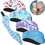 4 Pieces Swimming Headband Mermaid Element Swimming Ear Band Adjustable Swim Headband Keeping Water Out Ear Protection Headband for Kids Adults Surfing Bathing Kayaking