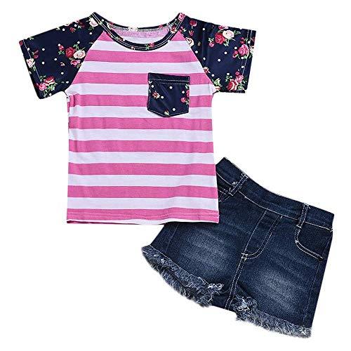 AIKSSOO pasgeboren baby meisjes zomeroutfits goedkoop baby meisjes katoen gestreepte T-tops + meisjes korte jeans set