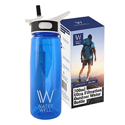 WaterWell™ Travel Ultra 2-stegs filter vattenflaska – filter 99,9 % av vattenburna patogener – 1 000 liter livslängd// 700 ml kapacitet version – (uppdatering: APRIL 2018 – produktförbättringar inkluderar starkare plastspak, snabbare filterflöde och