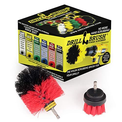 Drillbrush 2 piezas Red de cerdas duras Rotary limpieza es para la limpieza Revestimiento, ladrillo, piedra, chimeneas, cubiertas, canalones, y Más red-rígido
