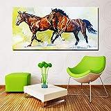 ganlanshu Pintura sin Marco Animales Dos Caballos al Galope Impresiones en Color Lienzo Pintura Sala Arte Pintura de la paredCGQ8801 60X120cm