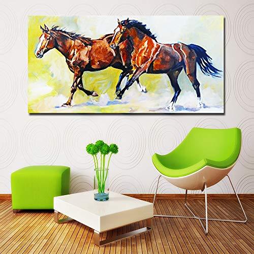 ganlanshu Rahmenlose Malerei Tiere Zwei galoppierende Pferde Farbdrucke Leinwandmalerei Wohnzimmer Kunst WandmalereiCGQ8799 40X80cm