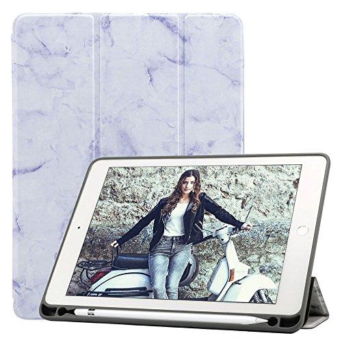 Billionn iPad 8/7 (10,2 Pulgadas, 2020/2019 Modelo, 8.ª/ 7.ª Generación) Funda + Protector Pantalla, Smart Cover con Stylus Pencil Soporte, Auto Sueño/Estela, Mármol Púrpur