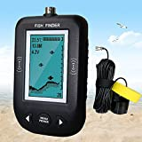 Erchang Portable Fish Finder, Underwater Depth Locator with Fish Size,Temperature/Shallow Water Alarm Fishfinder Video Camera Combo with Wired Sonar Sensor Transducer and 3 Inch LCD Display
