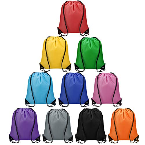 Vorspack Drawstring Backpacks Bulk 10 Pieces of 10 colors String Bags, Customized Gift Bags Goodie Bags for Party Gym Sport Trip