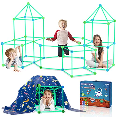 160PCS Kids Fort Building Kit Glow in the Dark Build a Fort with...