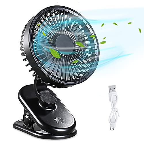 Ventilador USB,DIAOCARE Mini Ventilador de Mesa silencioso con Batería Recargable de 2800 mAh, 3 Velocidades Ajustables, Rotación de 360 °para Cochecitos Dormitorio Biblioteca(Negro)