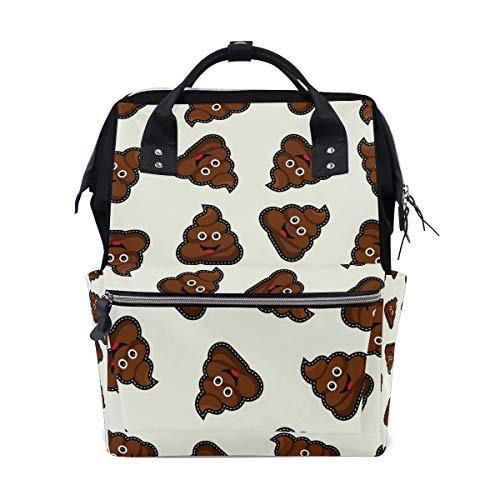 ALINLO - Bolsa de pañales con diseño de emoticonos de caca de gran capacidad, mochila multifunción para viajes