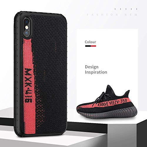 Fashion Sport Yeezy Case para iPhone XR, Hard PC+ Yeezy 350 Sneakers Material,Drop Protection & Anti Scratch Ultra Slim Sport Case para iPhone 6.1 Pulgadas,Black+Red