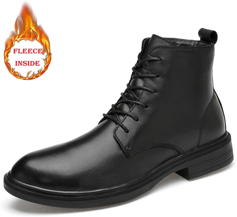 JUJIANFU -skor Mans Motorcycle Combat stövlar Ankle skor Warm skor skor skor Lace up Genuine läder Casual utomhus  rabattförsäljning