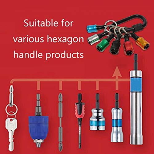 WANGFUFU 1/4inch Hex Shank Aluminum Alloy Screwdriver Bits Holder Extension Bar Drill Screw Adapter Change Keychain Portable