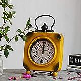 SXZHDZ Orologio da Tavolo Orologio da caminetto Retro Piazza Ferro Nonno Casa Decorazione Sveglia 31.5 x 18 x 4.5cm