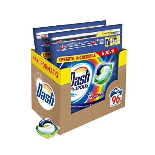 Dash All in 1 Pods Detersivo Lavatrice in Capsule, 96 Lavaggi (2 x 48), Salva Colore, Maxi Formato, Pulizia Profonda, Per Tutti I Capi