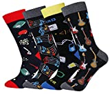 Men's Novelty Casual Animal Colorful Striped Pattern Dress Cotton Warm Crew Socks, Guitar-4pair, US 7-13