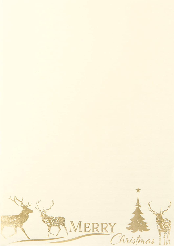 Rössler Papier - - Des.-W-Blatt Des.-W-Blatt Des.-W-Blatt DIN A4-Merry Christ. m.Hirsch ivory (HF-Gold) B07CX76RTP   Online Shop  1bf3b4
