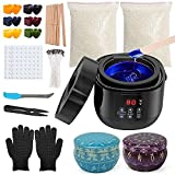 Candle Making Kit , Wax Warmer Candle Making Supplies, Non-Stick Coating Pot Easy Pour with Beeswax Color Dye Blocks Candle Tins Gloves Wicks Craft DIY Gift for Women Men