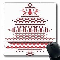 マウスパッド滑り止めハートレッドパターンスカンジナビア北欧冬ステッチアンティーククリスマスホリデーキャンバスクラフトクロス長方形滑り止めゲーミングマウスパッド滑り止めラバー長方形マット