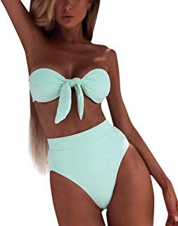 Bandeau bikini 2 stuks solide kleur bowknot annodata zonder schouderriem Suit Cheeky Sexy bodem.