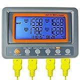 Gain Express 4 Canali K Tipo Termocoppia Registratore di Dati Temperatura Registratore con Scheda SD Ad Alta Precisione Grande Display LCD Alta/Bassa Allarme
