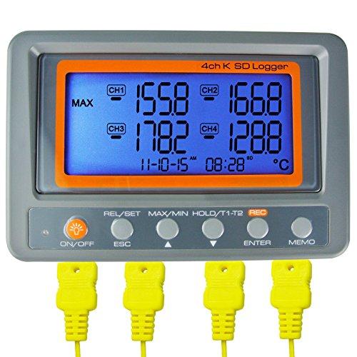 4-Kanal K Art Thermometer SD Karte Datenlogger Thermoelement Temperatur + 2 Bead Art K-Thermoelement-Sonde (Main Unit A0188598)