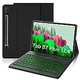 IVEOPPE Funda con Teclado para Samsung Galaxy Tab S7 FE / S7 Plus 12.4'', Teclado Bluetooth 7 Colores Retroiluminada Español Ñ con Cubierta Tipo Folio de PU para SM-T970/T975/T976/T978 (Negro)