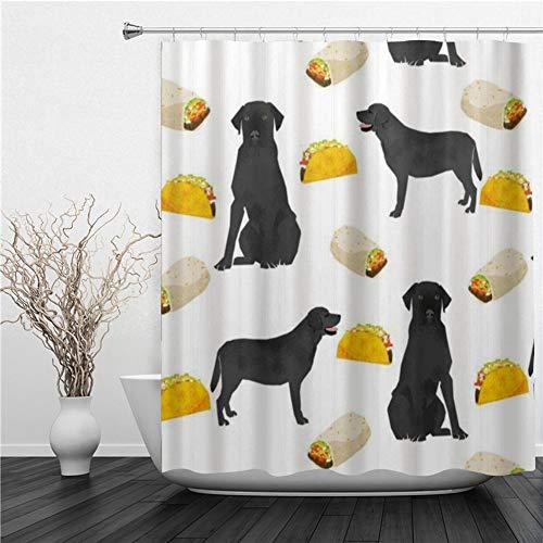 AIMILUX Duschvorhang 180x180cm,Schwarzes Labrador Tacos Essen,Duschvorhang Wasserabweisend-Duschvorhangringen 12 Shower Curtain mit