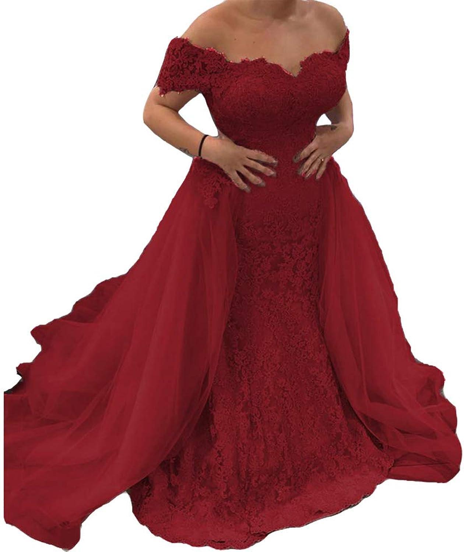 Lemai Off The Shoulder Mermaid Lace Detachable Train Long Evening Prom Dresses
