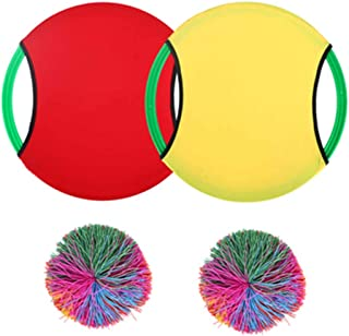 Sensory Fidget Stress Balls, Monkey Stringy Rainbow Pom Balls, Active Toys, for Kids And Adults, with 2 Racket & 2 Balls