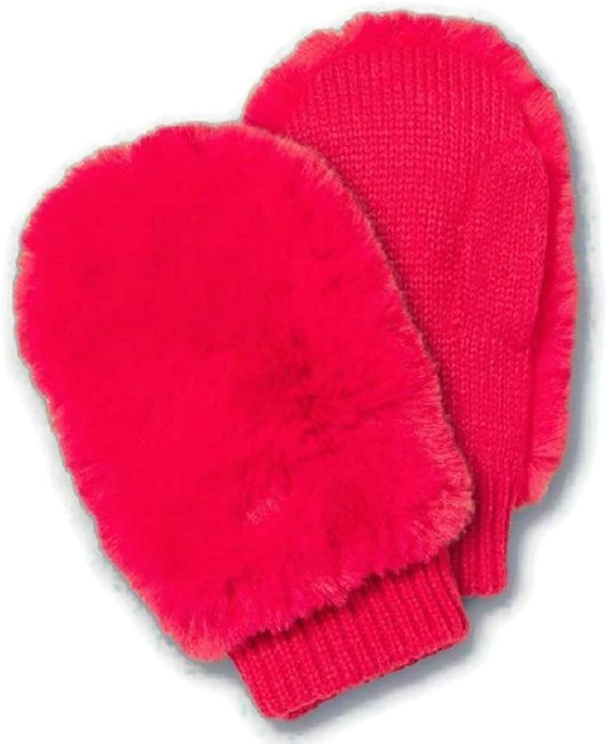 Girls' Faux Fur Mittens - More Than Magic Pink or Black - One Size