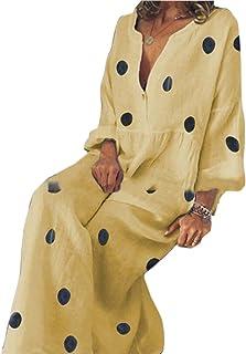 FSSE Women V-Neck Polka Dot Print Relaxed Casua Dress Beach Party Maxi Dress