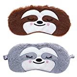 Ayygiftideas 2 Pack Cartoon Animal Sleep Mask Soft Plush Blindfold Eye Masks Eye Cover for Women Girls Travel Nap Night Sleeping (2-Pack Bradypod)