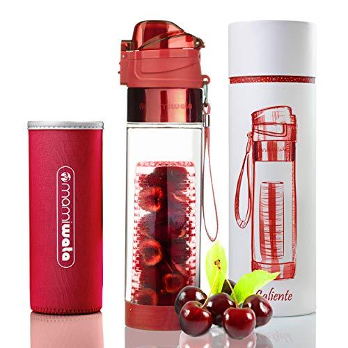 Botella de agua con infusor para frutas con elegante diseño y funda protectora