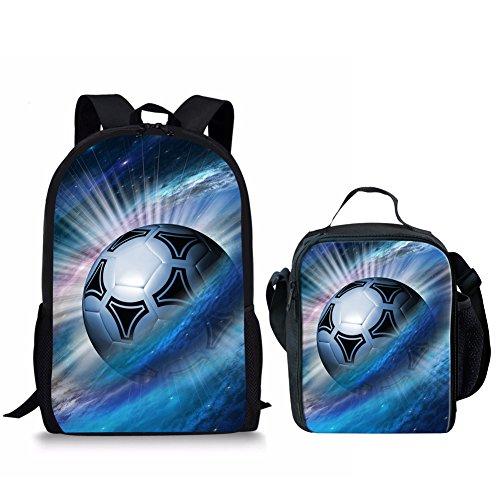 HUGS IDEA Football Pattern Fans Canvas Backpack Set Kids Bookbag and Lunch Bag 2 Pcs