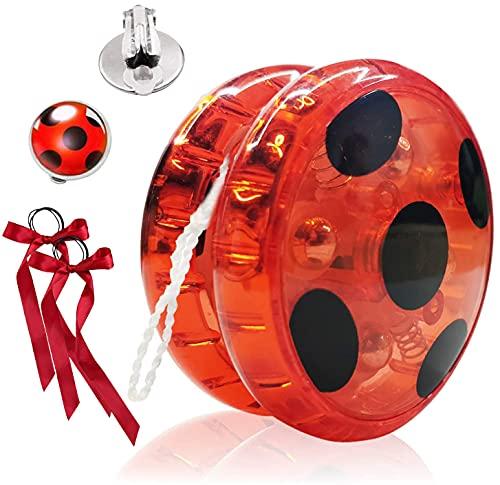 Hook Ladybug Yoyo para Disfraz Niña Lady Bug Cosplay Disfraces Fiesta de Carnaval Navidad Halloween, + 2X Pendientes con Clip +2 x Cintas para el Pelo. (Red)