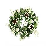 XIANWEI Puerta Decoración de la Guirnalda de Navidad Verde Rota círculo Ginkgo Mixta se reúne con Garland simulado Esmerilado de los Conos de chimeneas, Puertas Delanteras