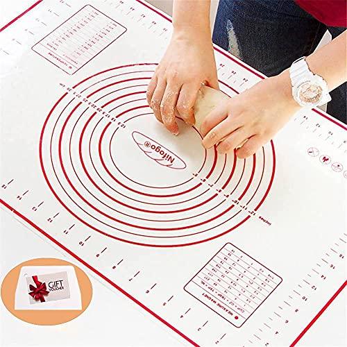 Tapete de Cocción Lámina de horno de Silicona Antiadherente, Juego de Repostería Profesional, Ecológico y Reutilizable 40x60cm (Rojo)