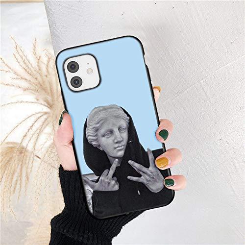 Fashion Art Abstract Phone Case para iPhone 12 11 Pro MAX Statue X XRXS A Prueba de Golpes 6 7 8 Plus SE 2020 Funda de Silicona TPU Suave, 67, para iPhone X o XS