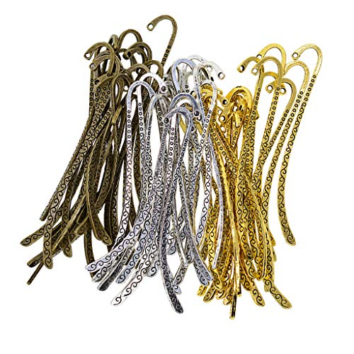 Baosity 60 Pieces Metal Bookmarks Book Mark with Hook Beading Jewelry Findings DIY Crafts 87mm x 13mm Antique Bronze, Tibetan Silver, Antique Gold Tone