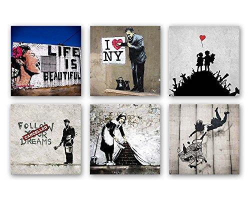 Banksy Bilder Set B, 6-teiliges Bilder-Set jedes Teil 19x19cm, Seidenmatte Optik auf Forex, Moderne schwebende Optik, UV-stabil, wasserfest, Kunstdruck für Büro, Wohnzimmer, XXL Deko Bild