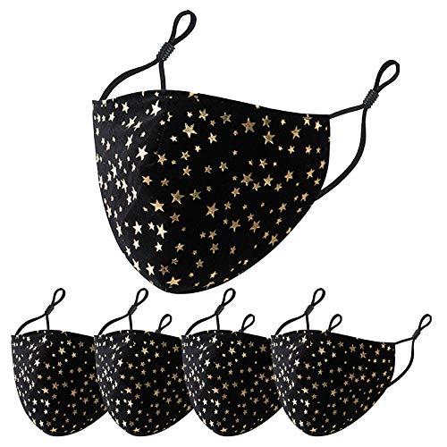 Sonojie 5 Stück Damen Mundschutz mit Gold Schmetterling Motiv Baumwolle Stoff Bunte...