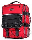CABIN GO MAX 5560 Zaino Trekking da Viaggio Bagaglio a Mano Uomo Donna – Zaino Trekking e Campeggio - Misure 55x40x20 cm – Tasca Porta Laptop e Copertura Antipioggia Integrata (Rosso/Grigio)