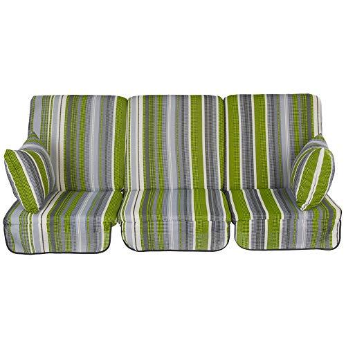 PATIO Auflagen Set Rimini/Venezia 180 cm/ 3x60 cm Polster für 3-Sitzer 4- Sitzer Hollywoodschaukel Schaukelauflage Sitzkissen Rückenkissen Seitenkissen