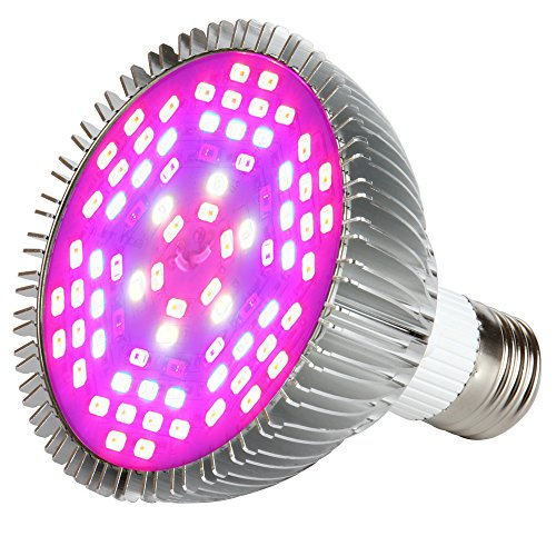MORSEN Grow Light Bulb, 50W Full Spectrum LED Grow Lights for Indoor Plants Vegetables and Seedlings Garden Greenhouse and Hydroponic Plants