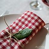 Linen & Cotton 4 x Stoffservietten Servietten Stoff Leinenservietten Kariert im Landhausstil Estella - 100% Leinen, Weiß Weiss Rot (32 x 32cm) Verschiedene Frühling/Home Küche Restaurant Cafe Bistro - 3