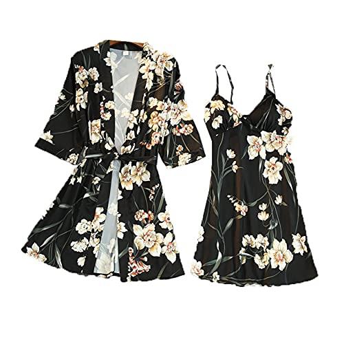 Pijamas Mujer Primavera Y Verano Sexy Sling CamisóN Dos Piezas Sexy Traje Estampado Pijamas Servicio A Domicilio